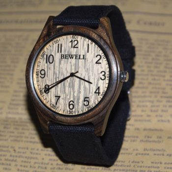 bewell horloge donker canvas band plaatje
